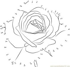Download or print Petite Rose Flower dot to dot printable worksheet from Flowers,Petite-Rose connect the dots category.
