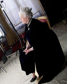 H.M. Queen Elizabeth II. Behind the scenes photography of H.M. Taken by Nina Duncan for Chris Levines holographic portrait of H.M. Entitled 'Equanimity.' 2004.