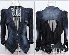 Magnífico para mujer delgada azul lavado jeans corto abrigo de manga larga chaqueta de mezclilla m, l, xl
