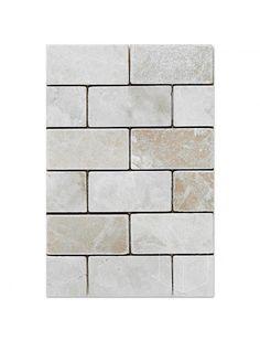 Botticcino 1x2 Brick Pattern Tumbled Marble Mesh Mounted Mosaic Tile #botticcino_marble_tile #brick_pattern_mosaic_tile Brick Patterns, Glass Mosaic Tiles, Tile Floor, Marble, Mesh, Tile Flooring, Granite, Marbles, Fishnet