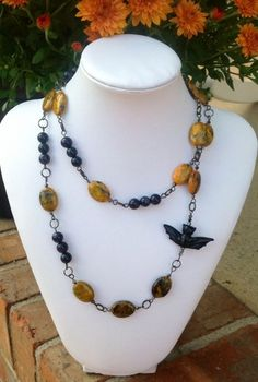 Halloween Starry Night Bat Gemstone Necklace   evezbeadz - Jewelry on ArtFire