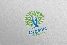 Hand Natural and Organic Logo design template 27 Logo Design Template, Logo Templates, River Logo, Yoga Logo, Organic Logo, Tree Logos, School Design, Logo Inspiration, Design Bundles