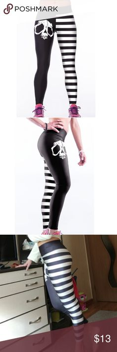 ☠️ Skull Halloween High Waist Leggings Yoga Pants Show your legs some love! Prepare to fall in love with these comfortable tights, made from a poly-spandex blend that stretches and breathes. The elastic waist sits comfortably at your hip and the fabric features a glistening sheen that's truly unique. Perfect for yoga, cross fit, and sports! Pants Leggings