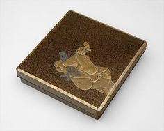 江戸時代 柿本人麻呂蒔絵硯箱<br/>Writing Box with the Poet Kakinomoto Hitomaro (died 715) Period: Edo period (1615–1868) Date: 17th–18th century Culture: Japan Medium: Black lacquer with gold and silver takamaki-e, hiramaki-e, cutout gold and silver foil application; lead rim Dimensions: L. 9 5/8 in.(24.5 cm); W.9 1/8 in. (23.2 cm); H.2 in. (5.1 cm) Classification: Lacquer
