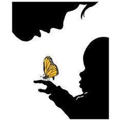 Decor Accessories Popular Artwork for Boys Limited Edition Mother and Child with Butterfly Giclee Print at PoshTots Paper Cutting, Stencils, Butterfly Canvas, Butterfly Kisses, Childrens Artwork, Frog Art, Silhouette Art, Mother And Child, Child Baby