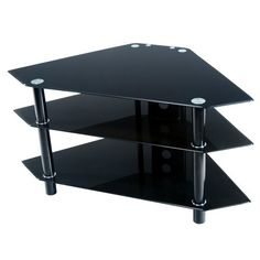 Walker Edison 44-Inch Glass and Metal Corner TV Stand, Black - The price dropped 10%