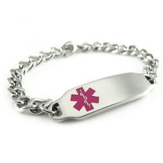 Pre Engraved - Peanut Allergy Alert ID Bracelet, Pink Symbol, $32.99 really cute and easy to wear!