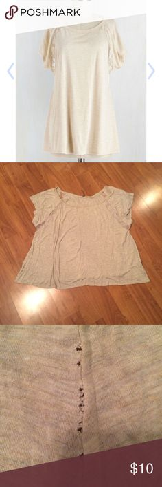 Breakfast in Bed-Stuey Top in Oatmeal, 3x Re-posh, as it didn't look right on me. Used, and shows signs of wear; over-stretching has caused holes to form along the side seams- looks like someone put too much person in the top; could easily re-vamp the top by taking in the sides an inch with new seams, I just don't have the patience to since I won't be keeping it. Great deal! Has adorable Lacey detail in the sleeves. ModCloth Tops Tees - Short Sleeve