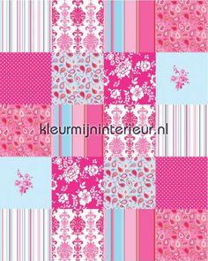 Patchwork blue 155701   Belle Rose Esta Home   kleurmijninterieur.nl