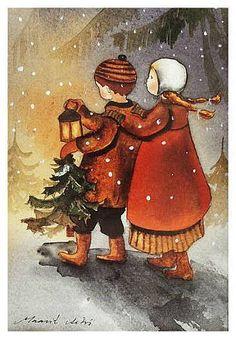 Maarit Ailio è una illustratrice finlandese tuttora in attività.                                                                           ... Christmas Images, Christmas Greetings, Christmas Time, Christmas Cards, Christmas Decorations, Illustrator, Art Carte, Art Et Illustration, Antique Christmas