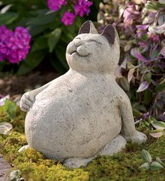 Volcanic Ash Lucky Cat. Buddha cat for yard