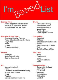 """Mom I'm Bored"" list and other great printables!"