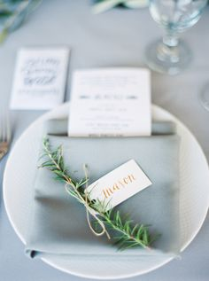Greenery accented place setting: http://www.stylemepretty.com/2016/04/11/wedding-with-earthy-floral-greenery/ | Photography: Loft Photography - http://www.loftphotography.com/