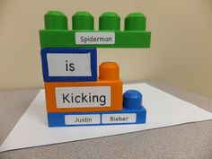 S2U: Third Thursday: Lego® Blocks {Linky party}- This activity has children manipulate words on lego pieces to create a sentence. This works on sentence structure. This would be a good activity for kindergarteners and 1st graders. (Kimberly Hahr)