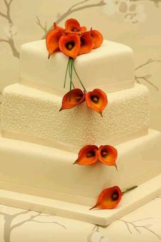 Square Wedding Cake with Orange lily accent