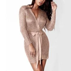 Women Sexy Dress Knitted Sweater Dress Silver Gold Club Party Bodycon Dress Deep V-neck Long Sleeve Cardigan Robe with Belt 2018 Dress With Cardigan, Knit Sweater Dress, Cardigan Sweaters, Club Outfits For Women, Clothes For Women, Women's Clothes, Long Sleeve Club Dresses, First Date Outfits, Vestidos
