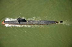 An Indian Scorpene class submarine (French DCNS design) on 1 May 2016 off Mumbai.