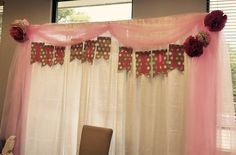 It's a Girl - baby shower backdrop- pink and white