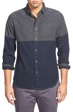 Men's Descendant of Thieves Cut and Sew Colorblock Woven Shirt