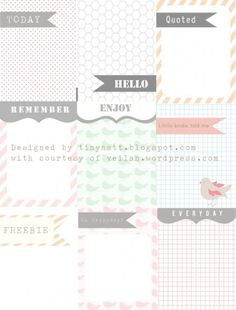 Freebie | Journaling Cards for Project Life - By Craft Gossip
