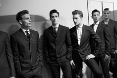 Look at these sharp suits, and the chalk style details done to perfection. Backstage at Bottega Veneta mens ss14, milan