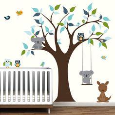 Vinyl Decals Tree with Koala Bear Kangaroo by Modernwalls on Etsy, $129.00 https://www.etsy.com/shop/Modernwalls
