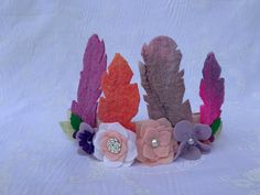 Excited to share this item from my #etsy shop: Felt feather headband, dress up headband, flower headband, festival accessory Protea Flower, Rainbow Decorations, Kids Up, Feather Headband, Rainbow Wall, Felt Flowers, Crowns, Photo Props, Dress Up
