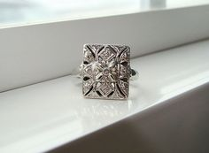 Antique Diamond Engagement Ring Vintage Filigree Wedding Ring Art Deco White 14K Gold Size 5.25 on Etsy, $329.00