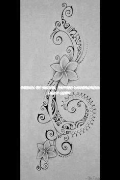 Polynesian Tattoo for Woman featuring Tipanier Flowers and a Hook of Maori Symbo., Polynesian Tattoo for Woman featuring Tipanier Flowers and a Hook of Maori Symbo. Polynesian Tattoo for Woman featuring Tipanier Flowers and a Hook . Paar Tattoos, Leg Tattoos, Arm Tattoo, Body Art Tattoos, Tatoos, Buddha Tattoos, Tattoo Hand, Thai Tattoo, Side Of Leg Tattoo