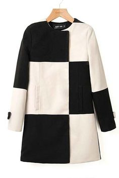 Black White Plaid Long Sleeve Woolen Coat