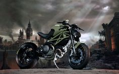flat olive green custom Ducati Monster