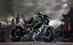 flat olive green custom Ducati Monster