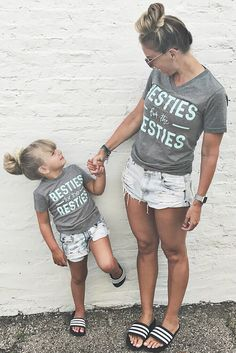 Because matching is life, especially with your Bestie! Match with your kids and be the raddest ones on the playground or match with your own besties for your coffee (or wine!) dates. Pairs well with yesterdays hair and leggings for your every day crazy. Adult fit is unisex so runs big – no need to size up for a baggier fit! * Kids fit runs true. Both printed on super soft grey tees with mint ink, right here in the USA. (Image: @bradyandlola via Instagram)