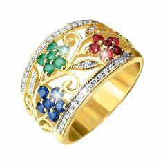 Anillo de oro con diamantes, rubíes, zafiros y esmeraldas, Fiorelli: Rubíes, Zafiros y Esmeraldas