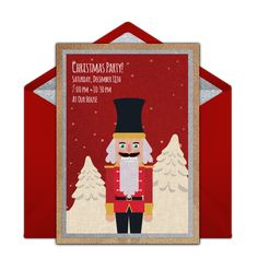 We are loving this festive Christmas party invitation featuring a Nutcracker. Free and easy to send via text, email, or social media. Nutcracker Christmas, Christmas 2019, Christmas Stockings, Christmas Crafts, Christmas Cookie Exchange, Christmas Cookies, Ginger Bread House Diy, Favorite Things Party, Christmas Party Invitations