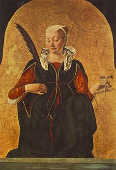 St. #Lucy/ St. #Lucia / Francesco del Cossa, ca. 1472. St. Lucy, patron saint for eyes/ sight. She was martyred in 303, during the persecutions of Christians by the emperor Diocletian. She is represented in art holding her eyes: Lucy rejected a suitor who admired her lovely eyes. Enraged by her rejection, he reported her Christian faith to the authorities. Blessed St. Lucy , protect our sight.