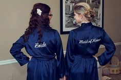 Navy Blue Embroidered Kimono Bride Bridesmaid by WeddingPrepGals