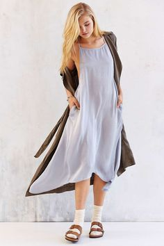 Band Of Gypsies Satin T-Back Maxi Slip - Urban Outfitters