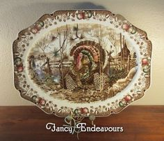 Huge Johnson Bros. England His Majesty Thanksgiving Turkey Platter  | eBay