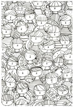 Free coloring page coloring-adult-visages-zen-anti-stress-to-print.