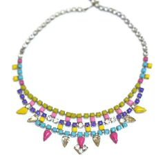 neon jewelry painted vintage rhinestone necklace by ColorblockShop, $63.00