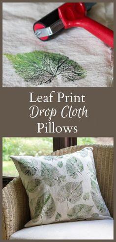 Leaf Print Drop Cloth Pillow Tutorial