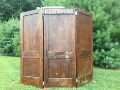 Set of stained door backdrop- or can be used to hide a portapotty- sign comes… Outdoor Wedding Signs, Barn Wedding Venue, Farm Wedding, Rustic Wedding, Wedding Ideas, Wedding Decor, Wedding Bathroom, Vintage Props, Best Friend Wedding