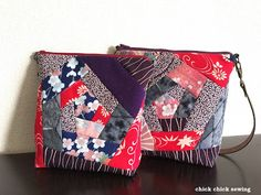 chick chick sewing: Sewing Patchwork Kimono Bags (Not one but three of them!) ♡ 着物地でパッチワークバッグ作り(3つも!)♡