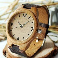 En bois montre avec bracelet en cuir véritable par ticktocktack
