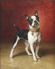 Carl Reichert (Austrian, 1836-1918) -French Bulldog, oil on panel, 71 x 55,8cm.