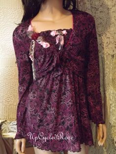 Dusty's First Date Upcycled Two Piece Tunic Top by UpcycledRose, $79.50