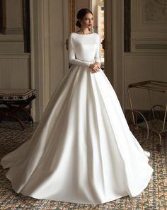 Wedding Dress Brands, Fancy Wedding Dresses, Elegant Wedding Dress, Prom Dresses, Formal Dresses, Dress Prom, Long Sleeve Wedding, Wedding Dress Sleeves, Modest Wedding Dresses