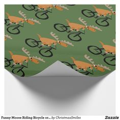 Funny Moose Riding Bicycle original art Wrapping Paper