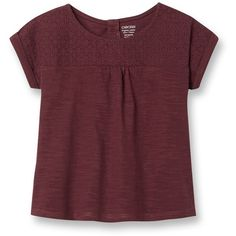 T-shirt broderie anglaise ($9.02) ❤ liked on Polyvore featuring tops, t-shirts, red t shirt, red top, pique jersey, jersey t shirt and jersey tee